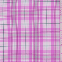 White/Pink Plaid Cotton Shirting