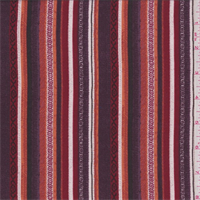*3 3/8 YD PC--Plum/Red/Orange Stripe Rayon Challis Lawn