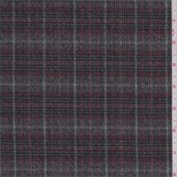 Grey/Berry Windowpane Plaid Flannel Suiting