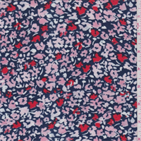 *3 YD PC--Navy/Coral Floral Field Rayon Jersey Knit