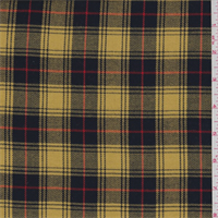 *2 7/8 YD PC--Gold/Navy Plaid Twill Suiting