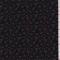 *3 YD PC--Black Floral Rayon Challis Lawn