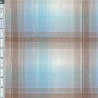 *3 YD PC--Blue/Mocha Big Ombre Plaid Crinkle Cotton Gauze