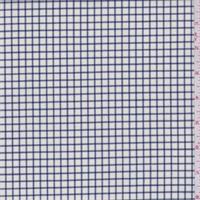 Cream/Navy Check Lightweight Wool Suiting