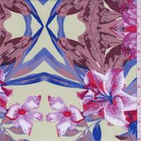 Sage Multi Tropical Floral Scuba Double Knit