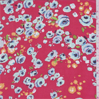 Coral Red Rose Print Chiffon