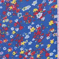 Aqua Blue Floral Print Chiffon
