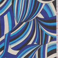 Royal/Turquoise/Black Print Chiffon