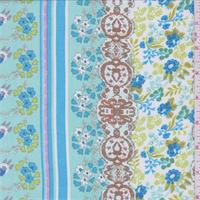 Seafoam Blue Multi Floral Stripe Chiffon