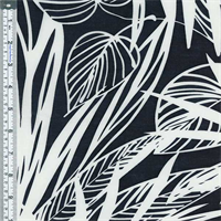 *3 YD PC--Black Tropical Foilage Cotton Lawn