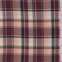 *3 1/2 YD PC--Cranberry/Peach Plaid Twill Shirting