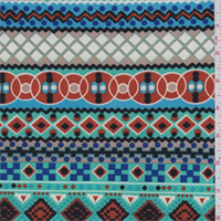 ITY Aqua Green Multi Zig Zag Stripe Jersey Knit
