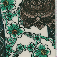 ITY Ecru/Green Patchwork Print Jersey Knit