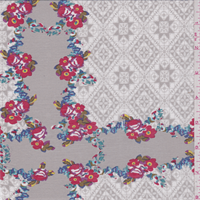 *3 YD PC--Grey Floral Lawn