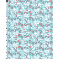 *2 3/4 YD PC--Aqua/Pink/White Japanese Floral Lawn