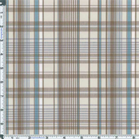 *3 7/8 YD PC--White/Light Brown Dunbar Plaid Cotton