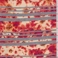Red/Orange Floral Stripe Sweater Knit