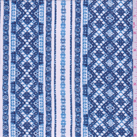 *3 3/8 YD PC--White/Blue Decorative Stripe Cotton Lawn