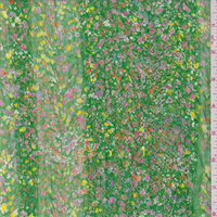 *3 YD PC--Spring Green Floral Meadow Novelty Chiffon