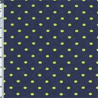 *3/4 YD PC--Neon Yellow-Green/Evening Blue Polka Dot Knit