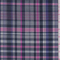 *3 1/2 YD PC--Grey/Navy/Pink Plaid Cotton Shirting