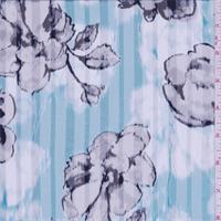 Shadow Grey/Azure Floral Satin Stripe Silk Chiffon