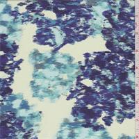 Citron/Blue Ikat Floral Silk Crepe de Chine