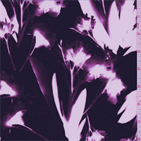 Plum Purple Floral Silk Crepe de Chine