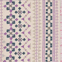 Pale Beige Multi Geometric Stripe Silk Crepe de Chine