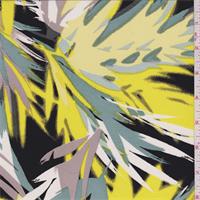 Yellow/Black/Grey Palm Print Silk Crepe de Chine