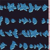 Black/Aqua Modern Floral Silk Crepe de Chine
