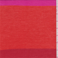 *3 1/8 YD PC--Pink/Orange/Red Stripe Jersey Knit