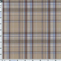 *3 3/8 YD PC--Tan/Blue Bermuda Plaid Cotton Shirting