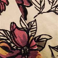 Beige/Red Floral Print Flocked Satin Decorating Fabric