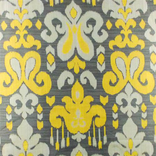 Gray Yellow Fleur De Lis Ikat Jacquard Home Decorating Fabric