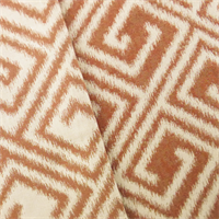 Designer Orange/Beige San Greek Key Ikat Decorating Fabric