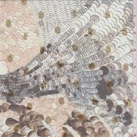 Beige/Grey Coin Crinkled Silk Chiffon