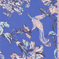 Blue Stylized Floral Silk Chiffon