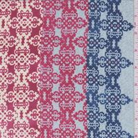 Cobalt Blue/Red Medallion Stripe Silk Chiffon