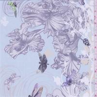 Pale Blue Floral Dragonfly Silk Chiffon
