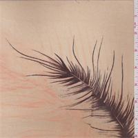 Golden Beige/Brown Feather Print Georgette