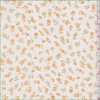 White/Orange Tossed Floral Georgette