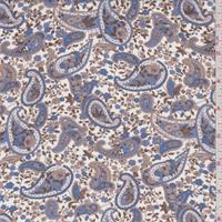 White/Blue/Cocoa Paisley Georgette