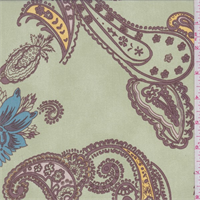 Sage Green/Brown Paisley Georgette