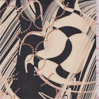 Black/Cream Beige Abstract Print Georgette