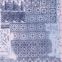 Sky/Steel Blue Scroll Tile Georgette