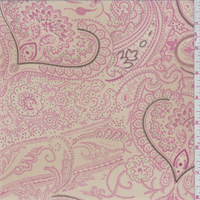 Golden Beige/Coral Pink Paisley Georgette