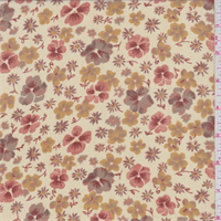 Beige/Coral/Gold Pansy Print Georgette