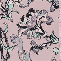 Dusty Pink Stylized Floral Silk Crepe de Chine