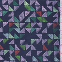 Vintage Blue Triangle Silk Crepe de Chine